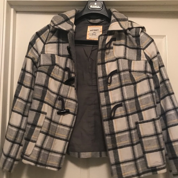Old Navy Jackets & Blazers - Old Navy Plaid Peacoat